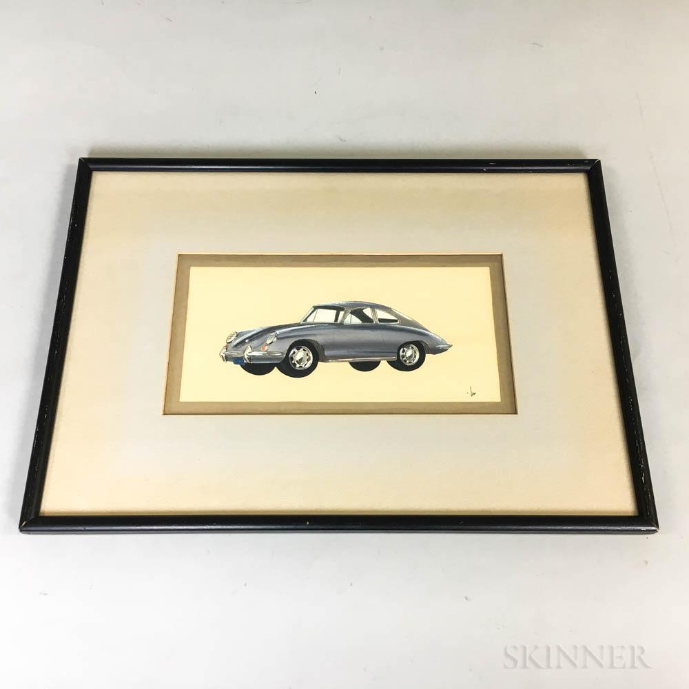 Drawing of a 1960s Porsche 911