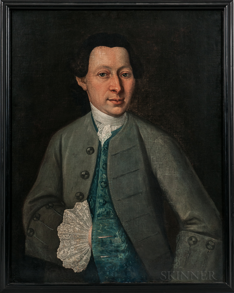 Anglo/American School, 18th Century      Portrait of a Man in a Blue Coat