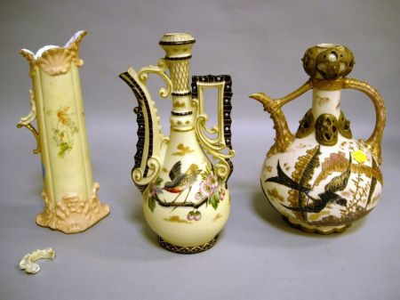 Three Aesthetic Movement Bohemian Porcelain Ewers