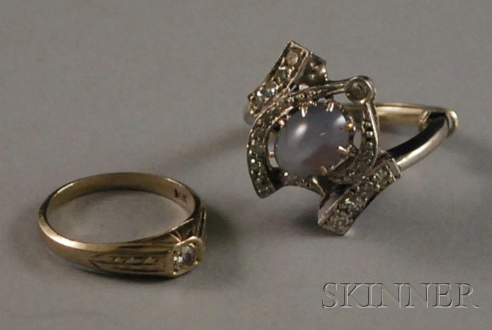 Two Small White Gold and Diamond Rings