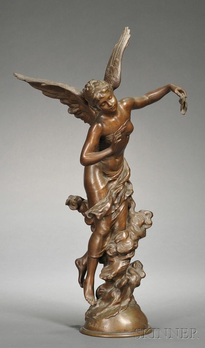 Mathurin Moreau (French, 1822-1912)       Bronze Figure of an Angel, Corne D'Abondance
