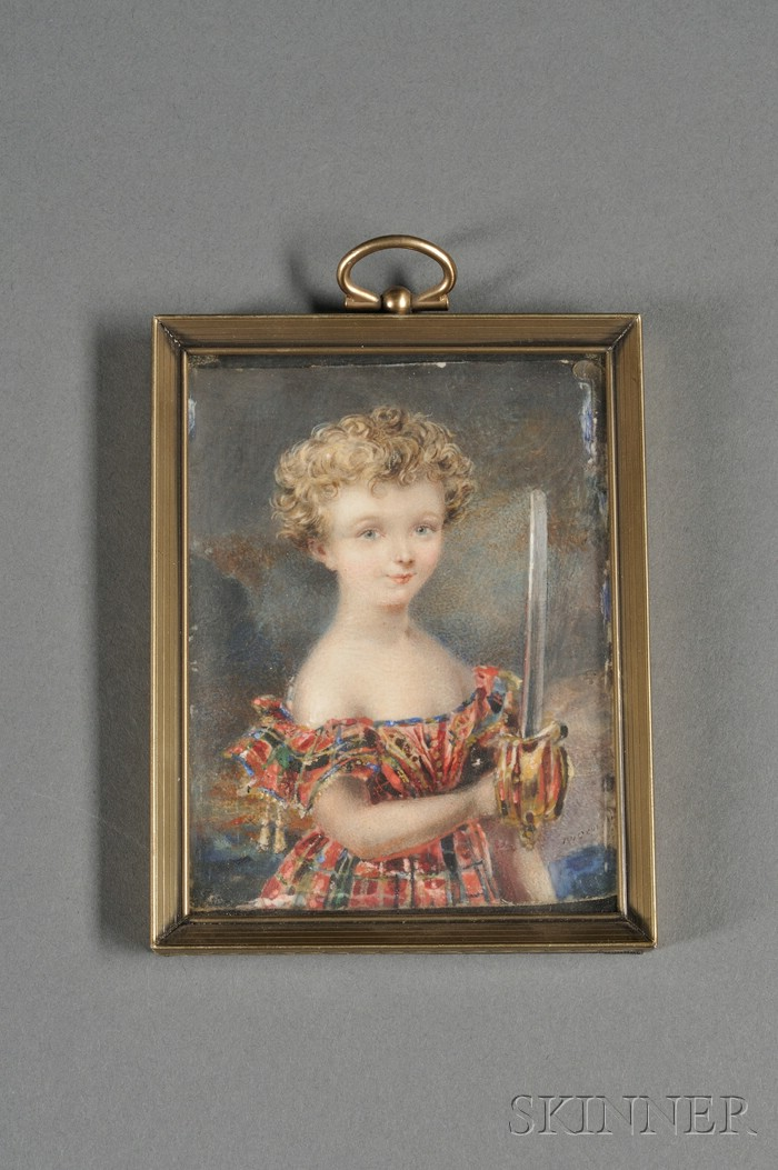 British Portrait Miniature on Ivory of a Boy with a Sword