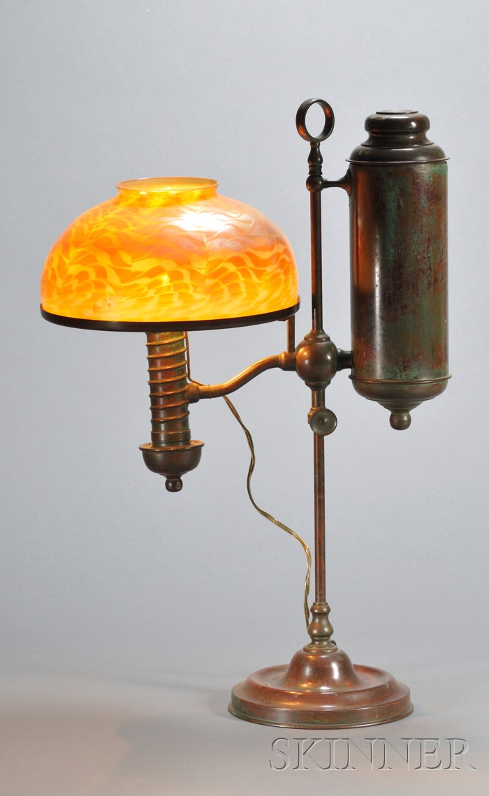 Student Lamp with Iridescent Art Glass Shade