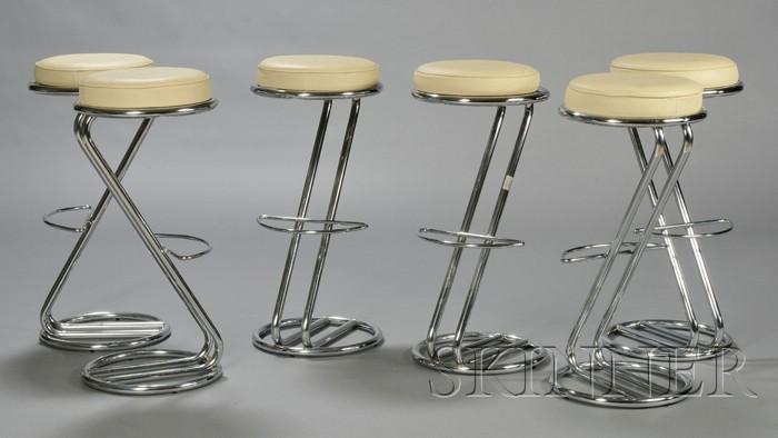 Six Z-shape Machine Age style Bar Stools