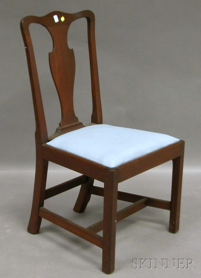 Chippendale Mahogany Side Chair with Upholstered Slip Seat.