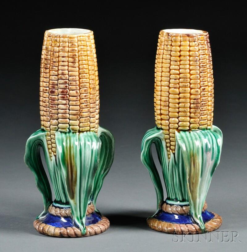 Pair of Wedgwood Majolica Cornhusk Vases