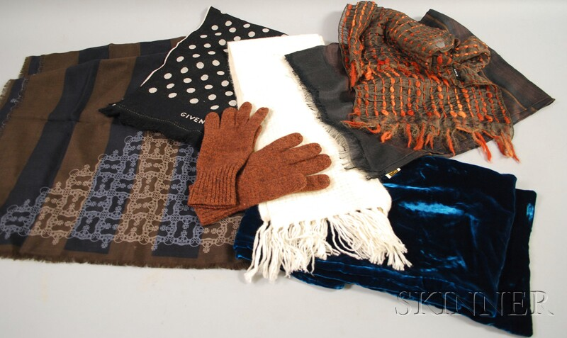 Six Assorted Women's Designer Scarves and Pair of Gloves