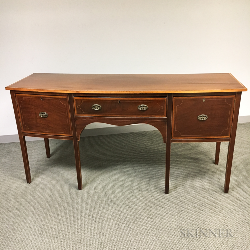 Federal-style Inlaid Mahogany Bow-front Sideboard