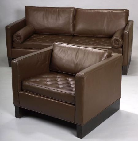Seagram Collection  Leather Sofa and Chair