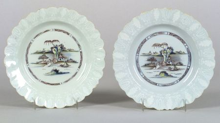 Two Delftware Polychrome Decorated Bianco-Sopra-Bianco Plates