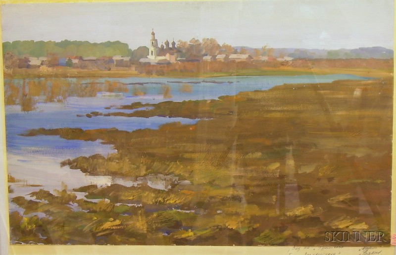 Framed Gouache on Paper River View with Distant Town