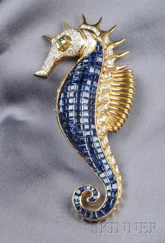 18kt Gold and Gem-set Seahorse Clip Brooch