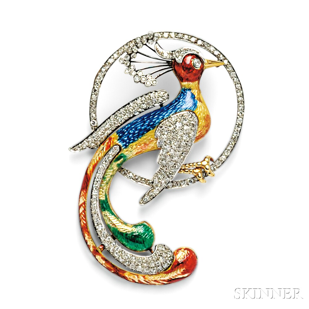 Enamel and Diamond Exotic Bird Brooch