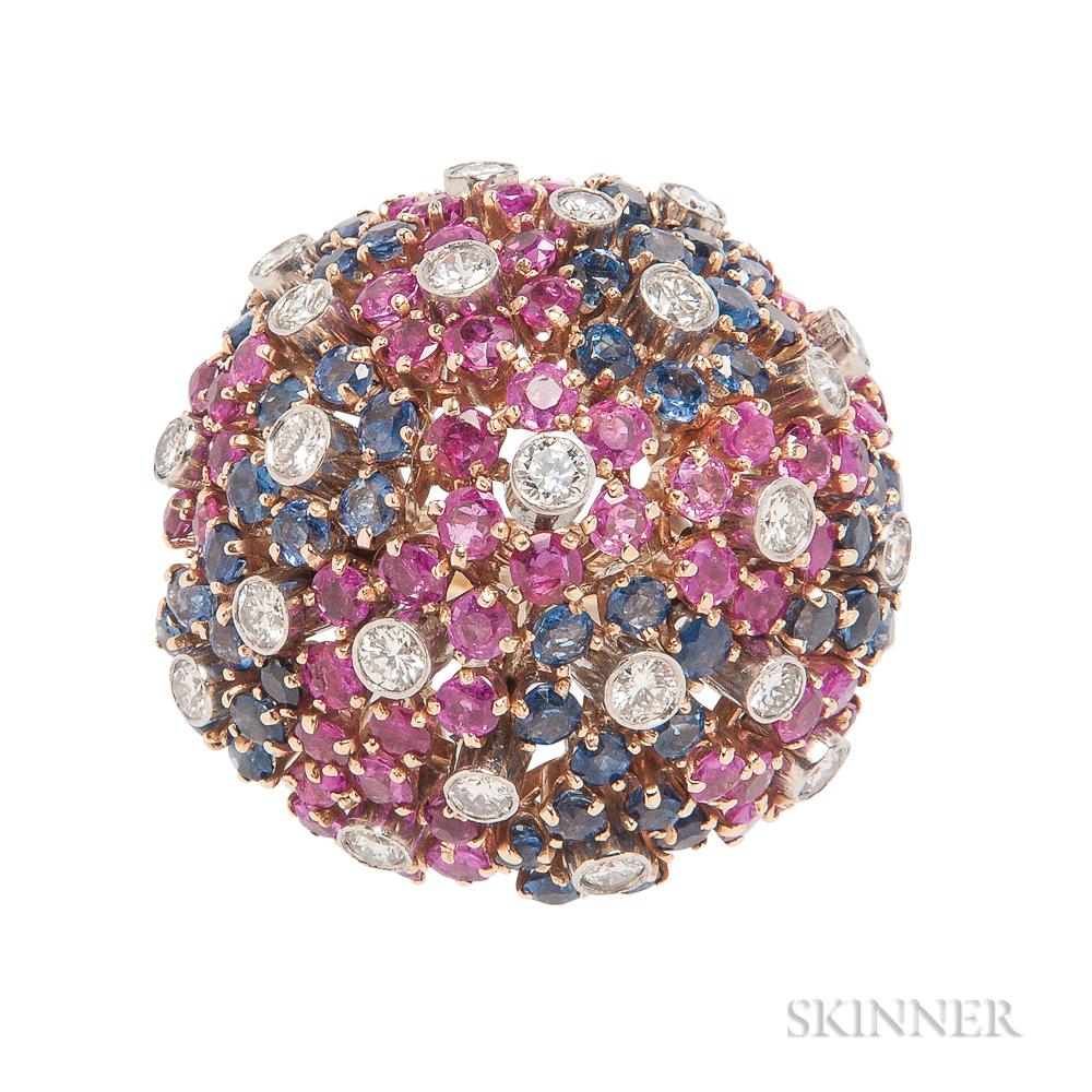14kt Gold Gem-set Dome Ring