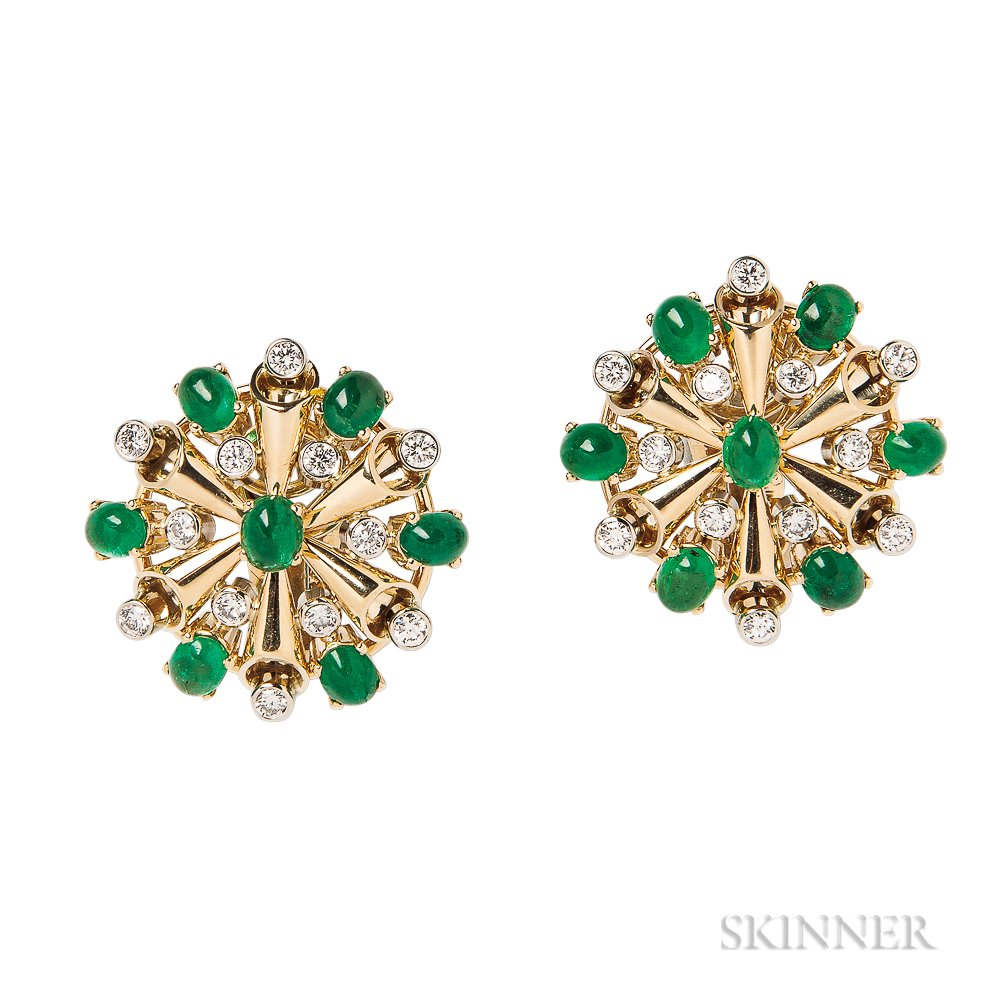 18kt Gold, Emerald, and Diamond Earclips, Aletto Bros.