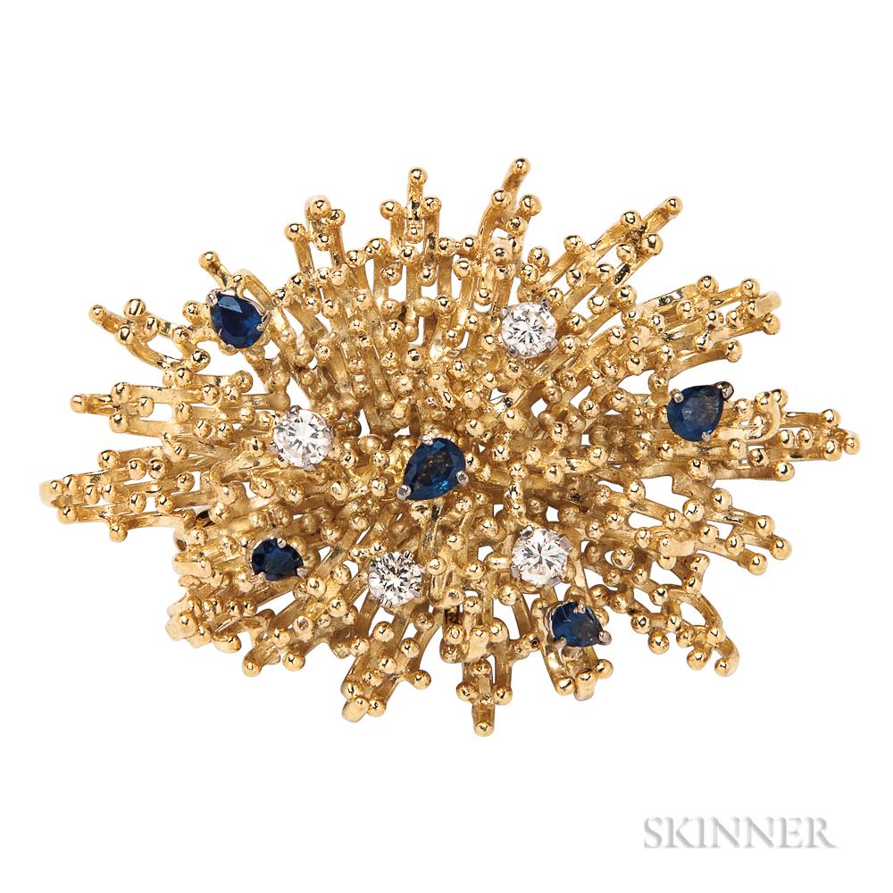 18kt Gold, Sapphire, and Diamond Brooch