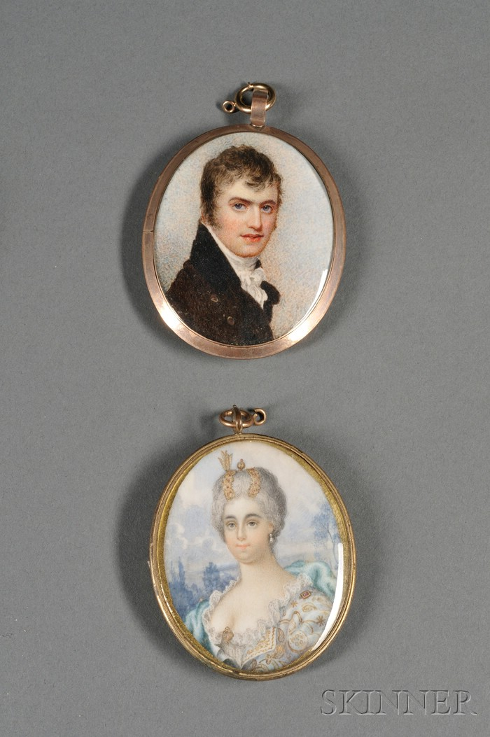 Two Portrait Miniatures on Ivory