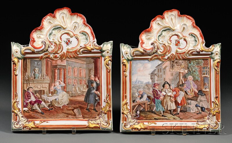 Pair of French Hand-painted Faience Wall Plaques