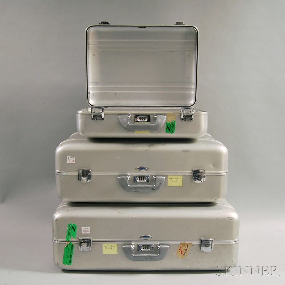 Three Pieces of Vintage Zero Halliburton Aluminum Luggage | Sale ...