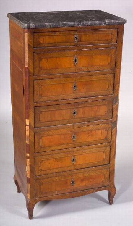 Louis XV Style Tulipwood Veneered and Inlaid Marble-top Semainiere