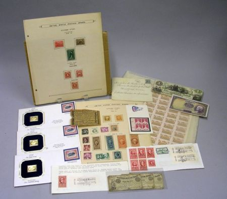 Miscellaneous Postage and Revenue Stamps, Three 22kt Gold Replicas of Air Mail   Stamps, and Miscellaneous Currency