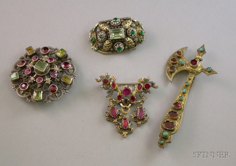 Four Primarily Silver Bohemian/Austro-Hungarian Gem Set Brooches