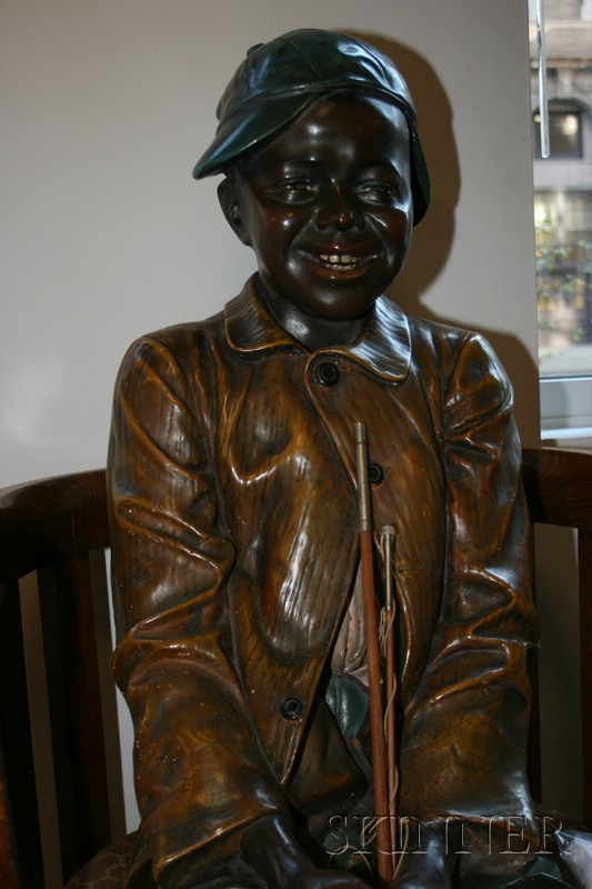 Life-sized Austrian Painted Terracotta Figure of a Boy Fishing