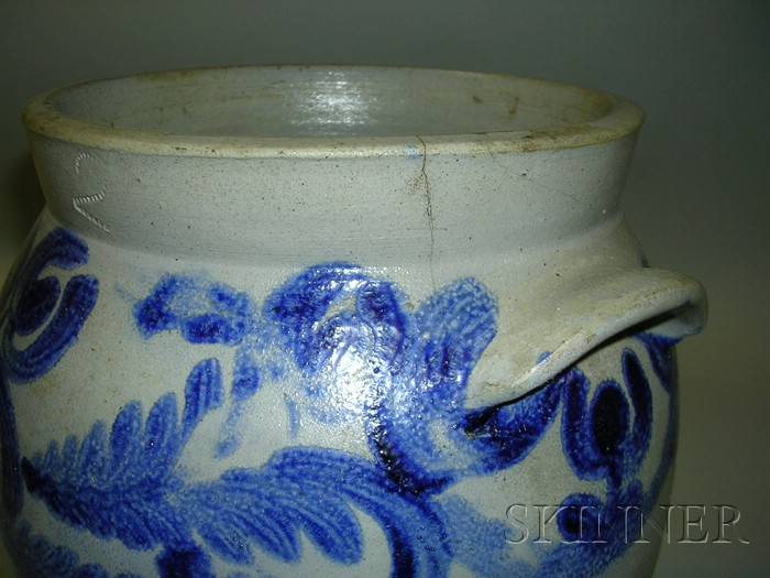 Cobalt-decorated Wide-mouth Stoneware Jar