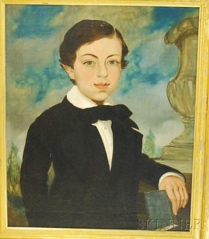 American School 19th Century Oil on Canvas Portrait of a Boy Holding a Book
