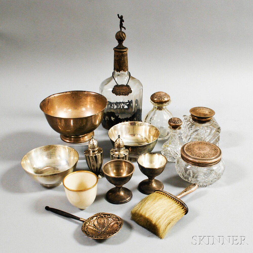 Group of Mostly Sterling Silver and Glass Tableware