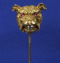 Antique 14kt Gold Bulldog Stickpin