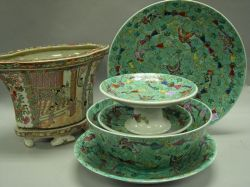 Set of Five Chinese Export Style Green Glazed Porcelain Compotes, Chargers and Bowl, with a Chinese Export Porcelain Jardiniere on Stan