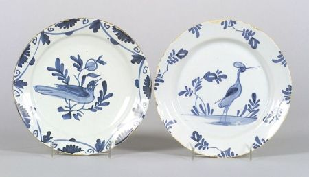 Two Bristol Delftware Blue and White Bird Plates