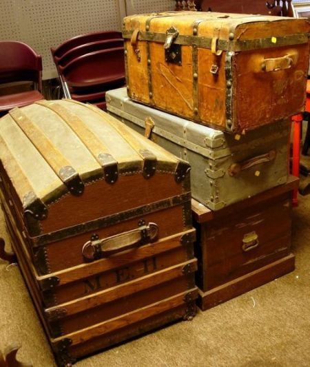 Wood Strap Dome-top Steamer Trunk, a Wooden Tool Chest, and Three...