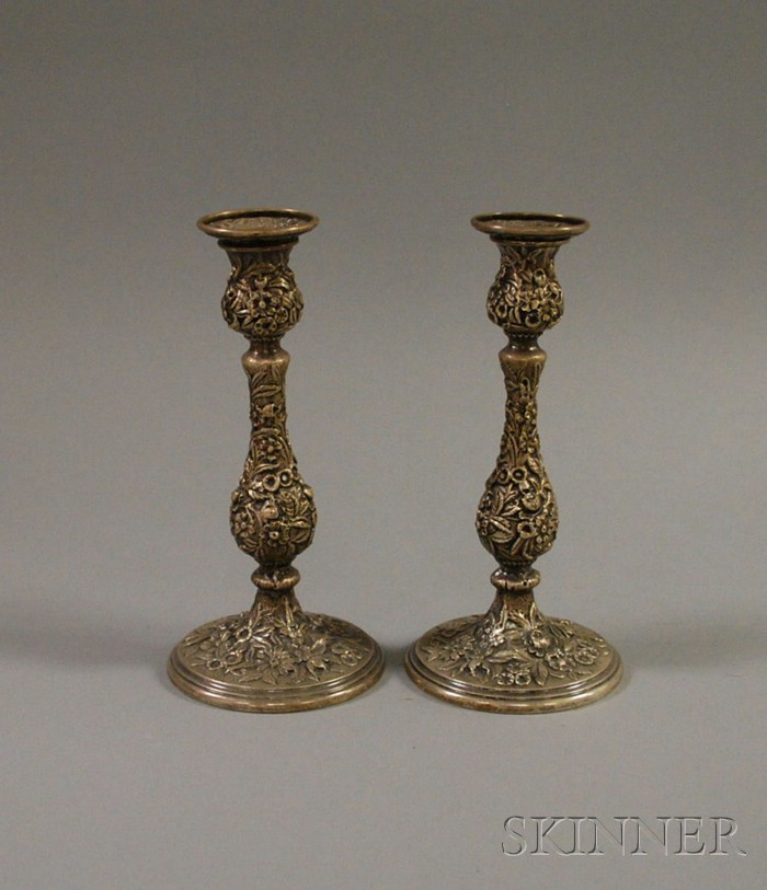 Pair of Kirk Sterling Silver Repousse Candlesticks