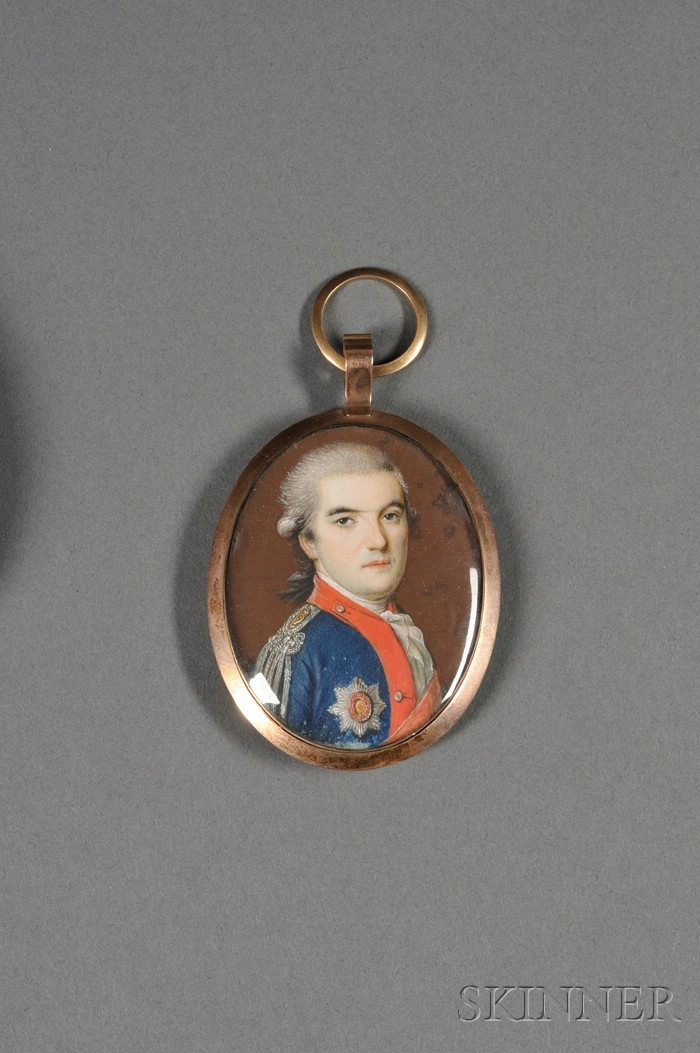 English Portrait Miniature on Ivory of an Officer in Uniform