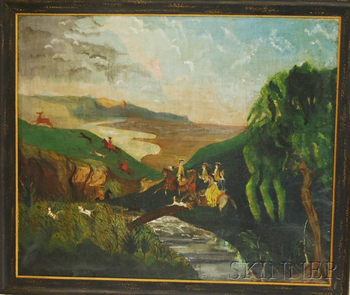 British School 19th Century Oil on Canvas Hunting Party in a Vivid Landscape