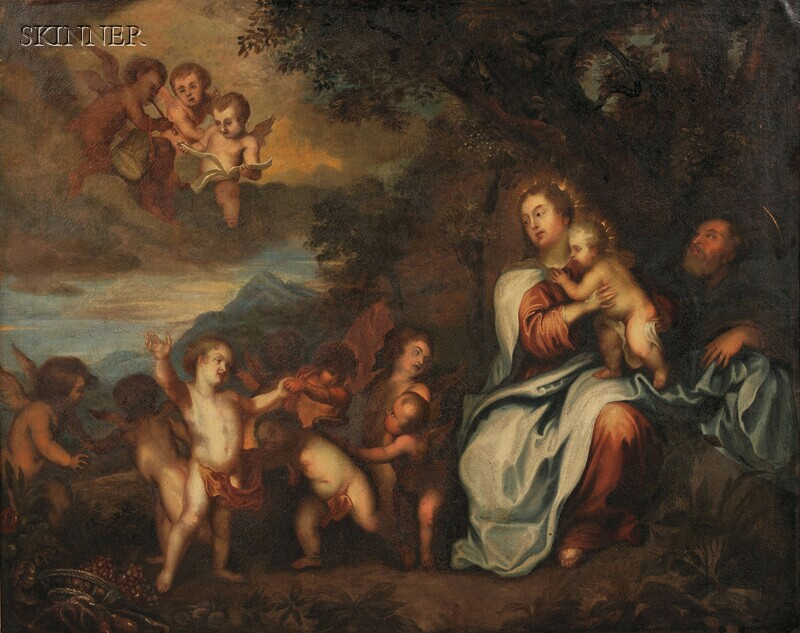 Manner of Philip van Dijk (Dutch, 1680-1753), After Tiziano Vecelli, called Titian, (Italian, c. 1485-1576) The Holy Family with Cherub