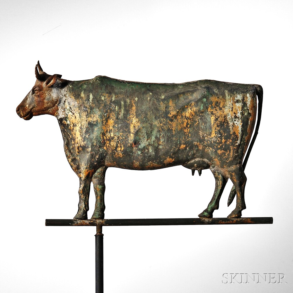 Molded Sheet Copper and Cast Iron Cow Weathervane