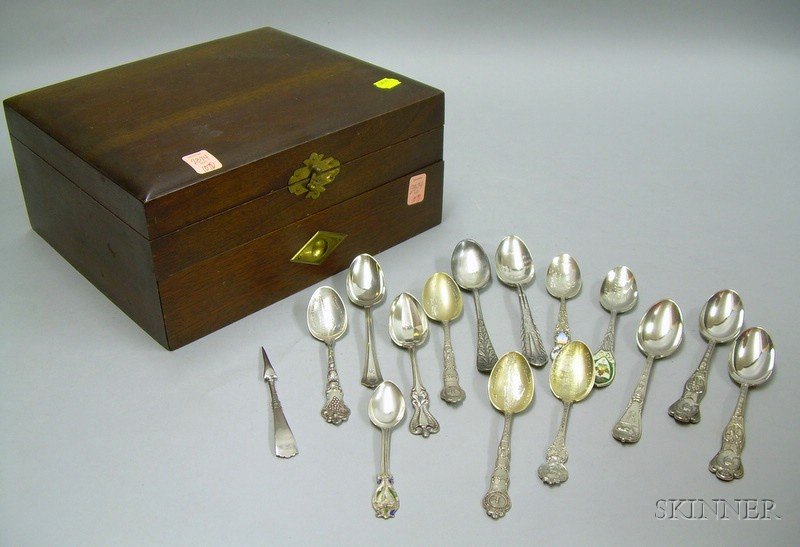 Collection of Ten Sterling Silver and Two Silver Plated Souvenir Spoons