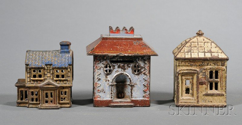 Three Small Cast Iron Architectural Still Banks