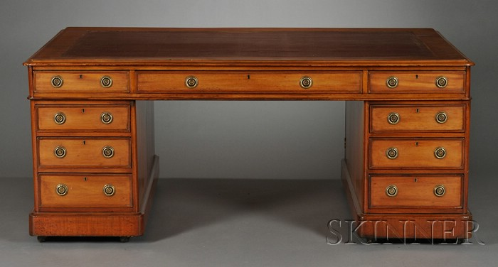 William IV Mahogany and Leather-top Pedestal Partner's Desk