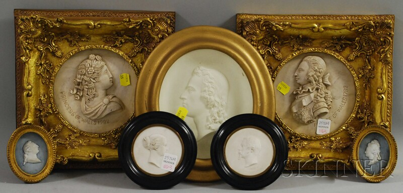 Seven Miniature and Small Profile Portrait Busts
