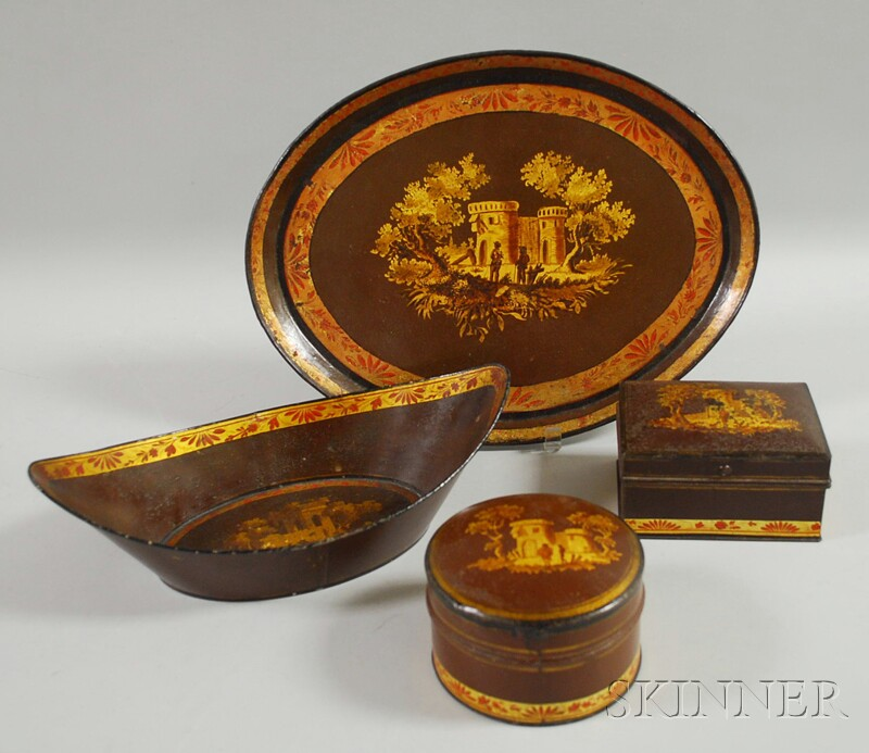 Four Painted Tinware Items with Gilt Classical Building Scenes
