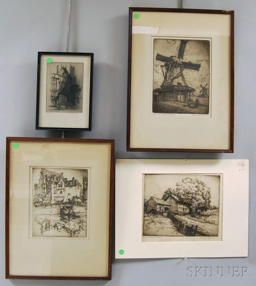 Four Etchings:      Three by Frederick Goodrich Robbins (American, 1893-1974), Windmills Koog   aan de Zaan  , Old Grimburg, Amsterdam