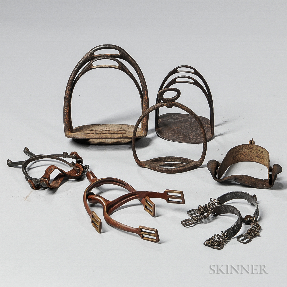 Group of 19th Century Iron and Brass Stirrups and Spurs