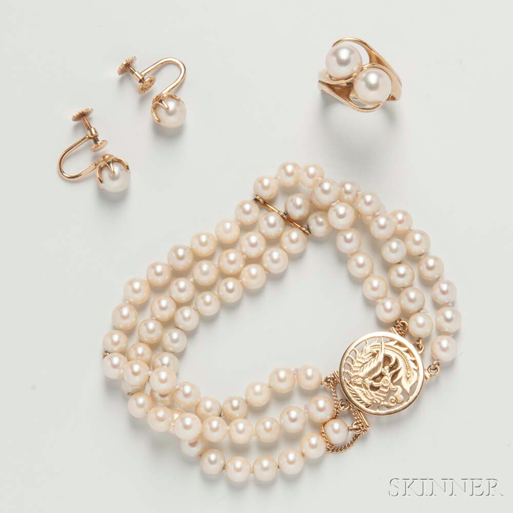 Group of 14kt Gold and Cultured Pearl Jewelry