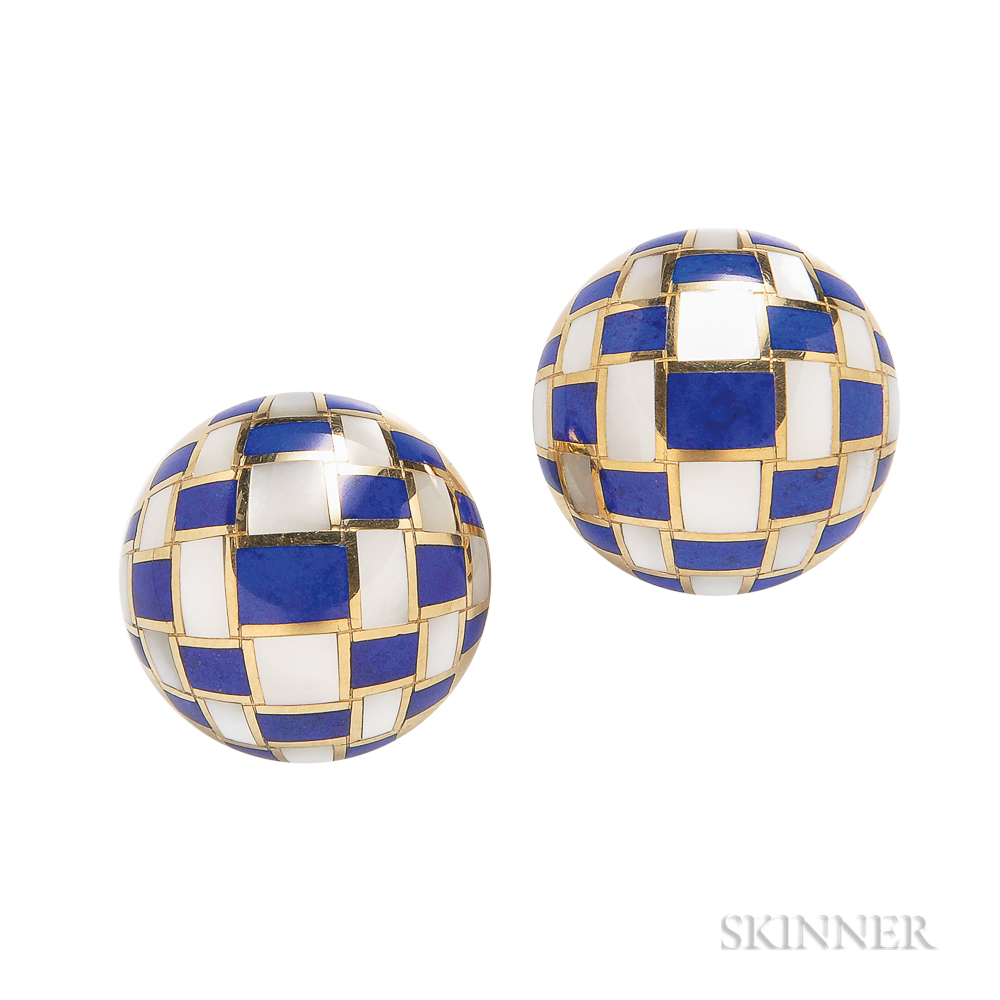 "18kt Gold, Lapis, and Mother-of-pearl ""Basket Weave"" Earrings, Tiffany & Co."