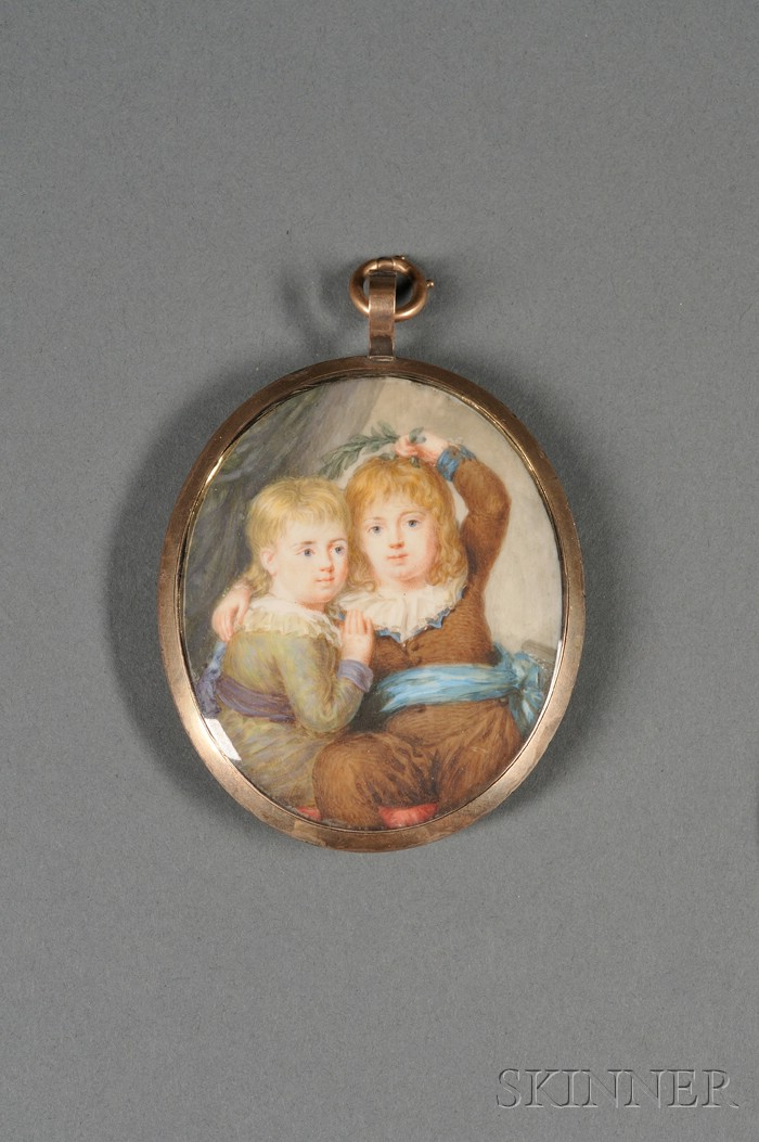Portrait Miniature on Ivory of Two Children
