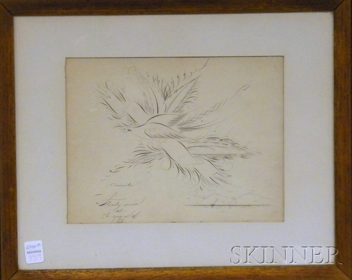 Framed 19th Century Ink Calligraphic Work on Paper